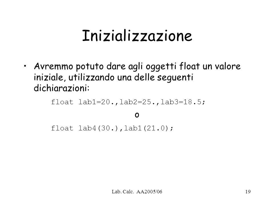 Lab. Calc. AA2005/0619 Inizializzazione Avremmo potuto dare agli oggetti float un valore iniziale, utilizzando una delle seguenti dichiarazioni: float