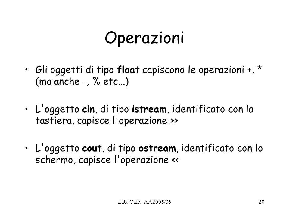 Lab. Calc. AA2005/0620 Operazioni Gli oggetti di tipo float capiscono le operazioni +, * (ma anche -, % etc...) L'oggetto cin, di tipo istream, identi
