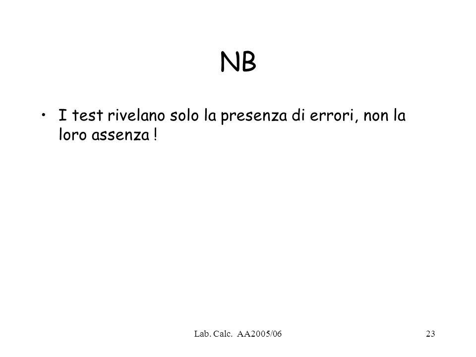 Lab. Calc. AA2005/0623 NB I test rivelano solo la presenza di errori, non la loro assenza !