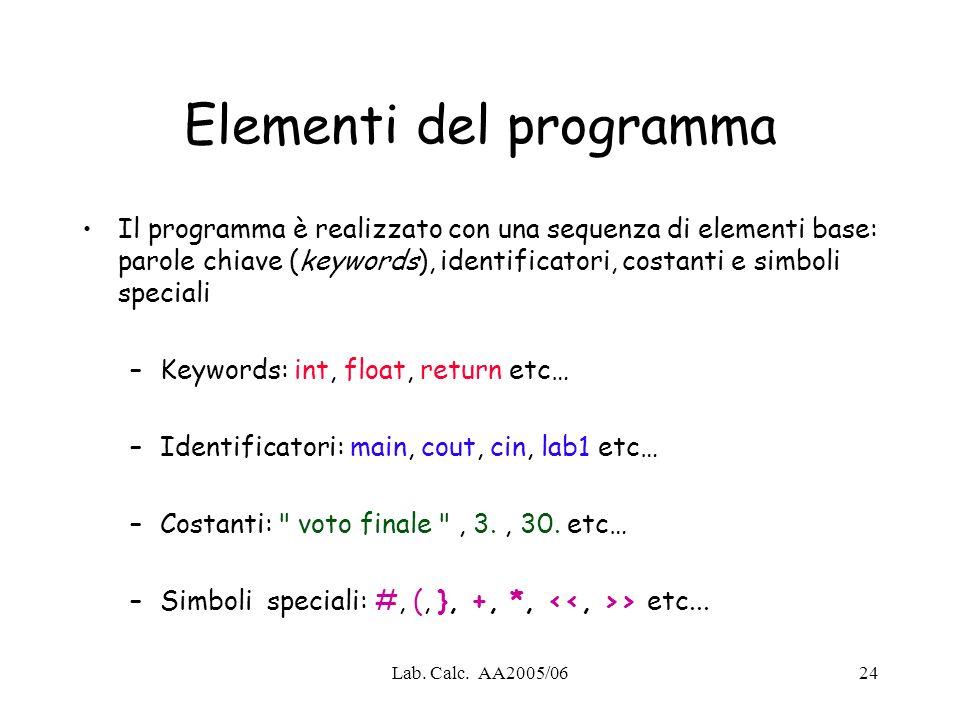 Lab. Calc. AA2005/0624 Elementi del programma Il programma è realizzato con una sequenza di elementi base: parole chiave (keywords), identificatori, c