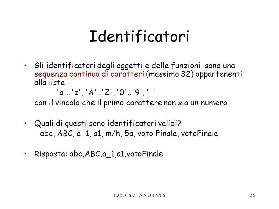 Lab. Calc. AA2005/0626 Identificatori Gli identificatori degli oggetti e delle funzioni sono una sequenza continua di caratteri (massimo 32) appartene