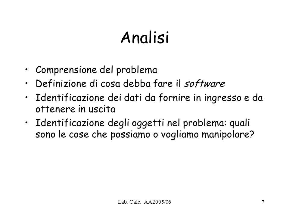 Lab. Calc. AA2005/067 Analisi Comprensione del problema Definizione di cosa debba fare il software Identificazione dei dati da fornire in ingresso e d