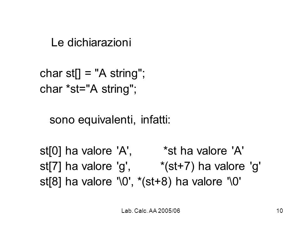 Lab. Calc. AA 2005/0610 Le dichiarazioni char st[] =