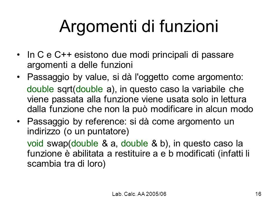 Lab. Calc. AA 2005/0616 Argomenti di funzioni In C e C++ esistono due modi principali di passare argomenti a delle funzioni Passaggio by value, si dà