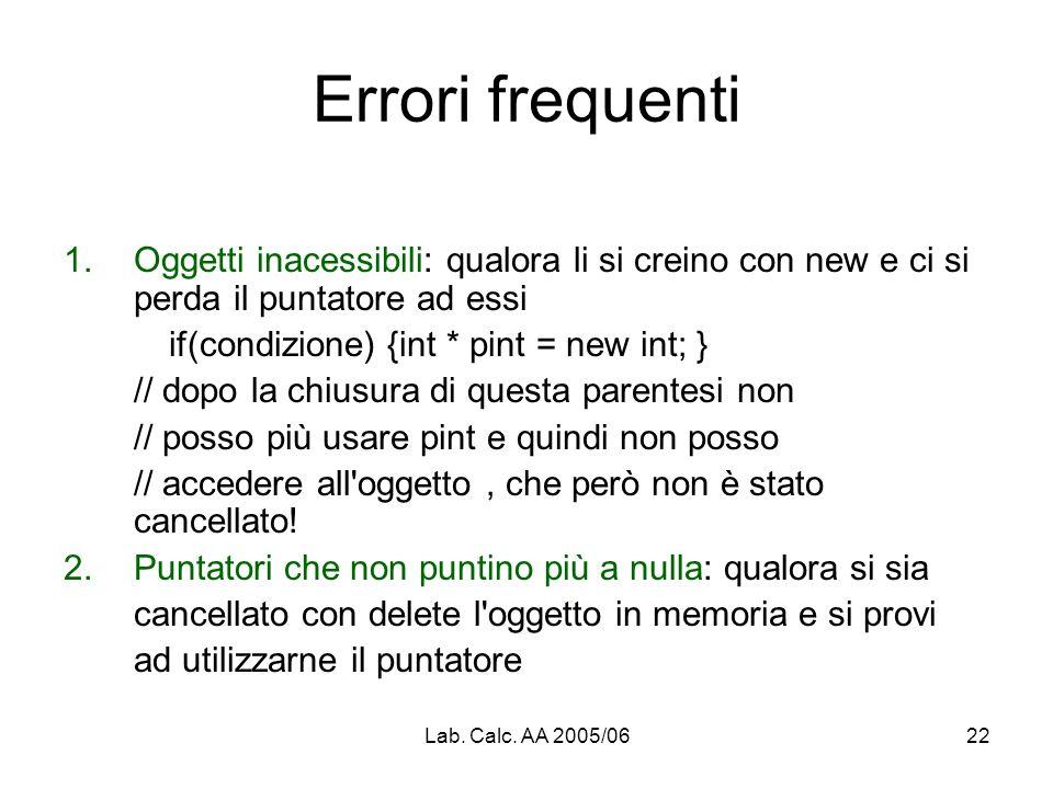 Lab. Calc. AA 2005/0622 Errori frequenti 1.Oggetti inacessibili: qualora li si creino con new e ci si perda il puntatore ad essi if(condizione) {int *