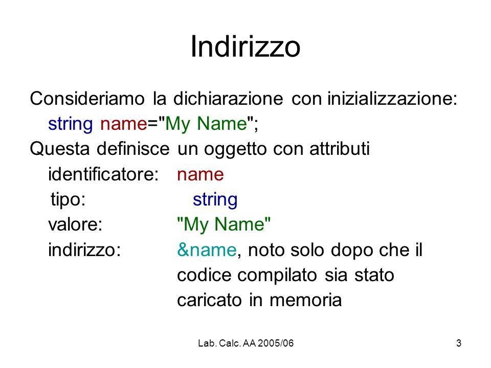 Lab. Calc. AA 2005/063 Indirizzo Consideriamo la dichiarazione con inizializzazione: string name=