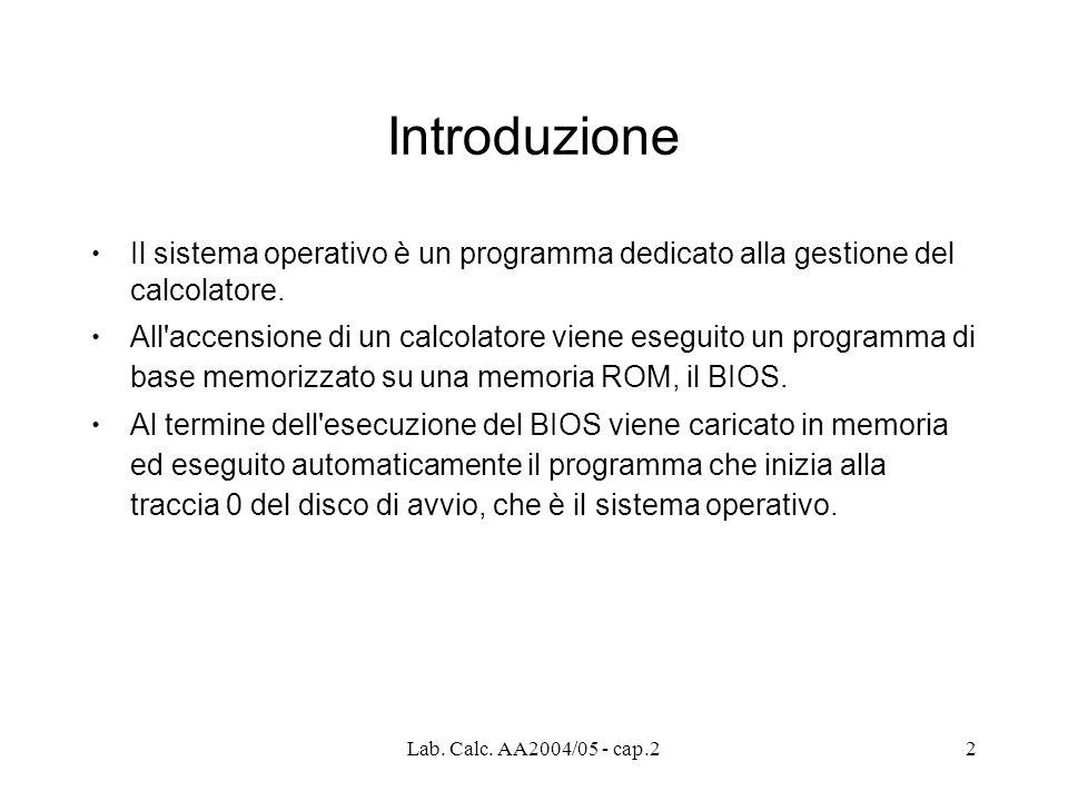 2 Introduzione Il sistema operativo è un programma dedicato alla gestione del calcolatore.