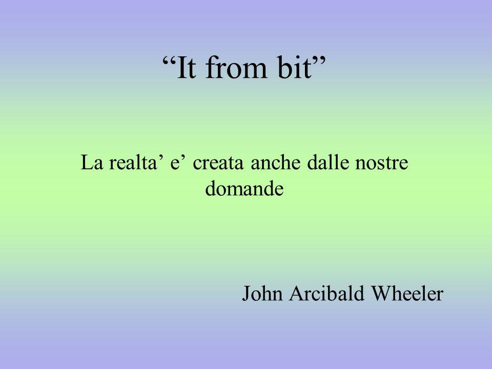 It from bit La realta e creata anche dalle nostre domande John Arcibald Wheeler