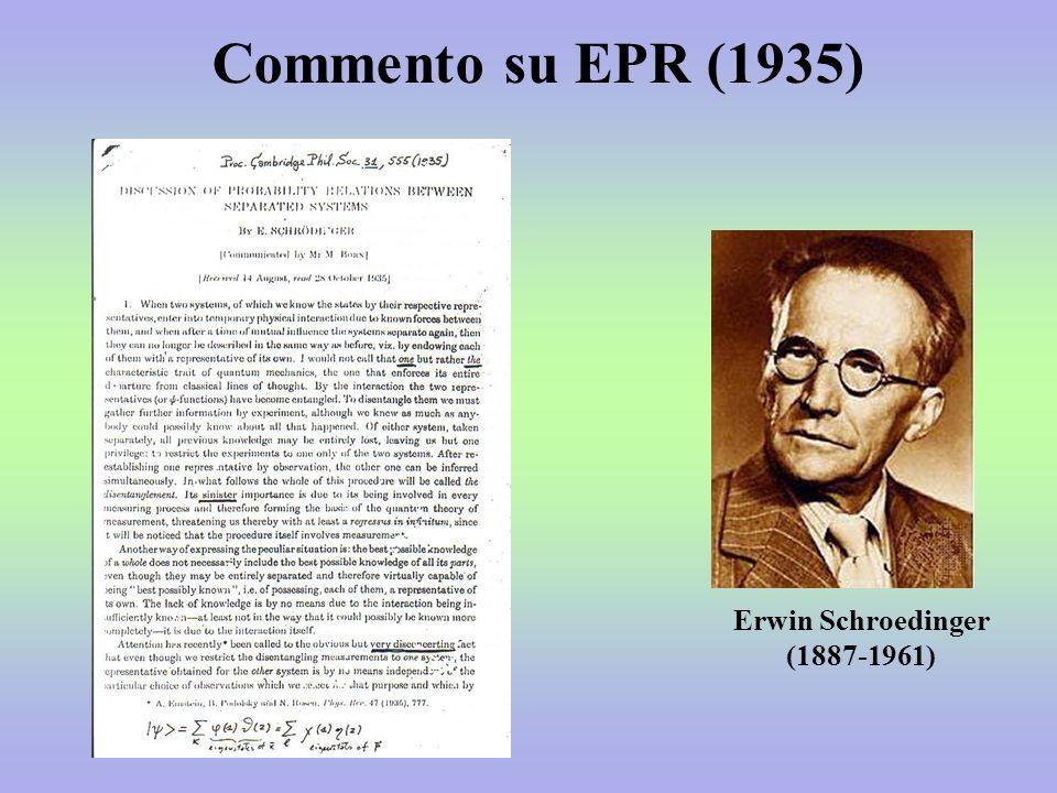 Erwin Schroedinger (1887-1961) Commento su EPR (1935)