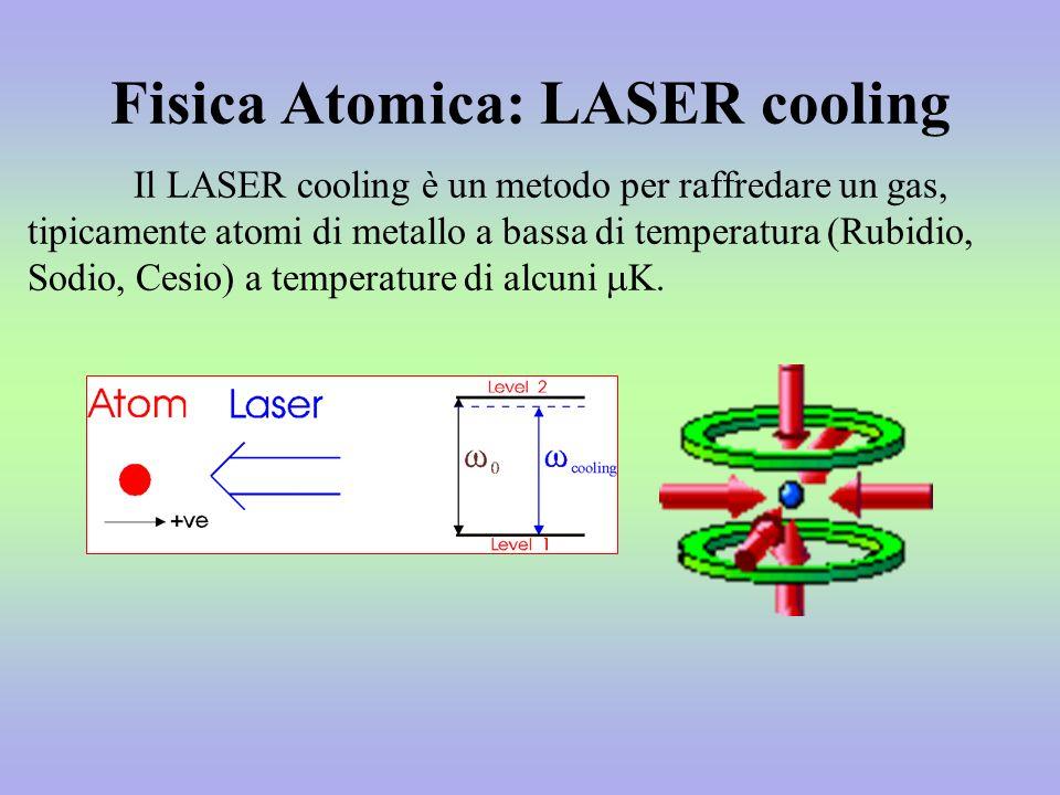 Fisica Atomica: LASER cooling Il LASER cooling è un metodo per raffredare un gas, tipicamente atomi di metallo a bassa di temperatura (Rubidio, Sodio, Cesio) a temperature di alcuni K.