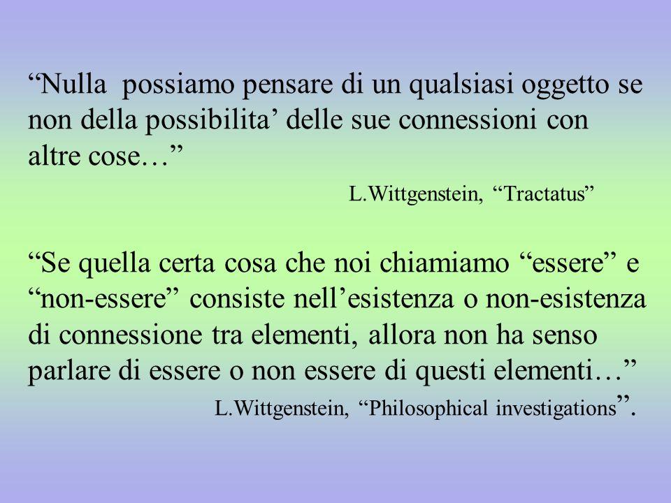 Nulla possiamo pensare di un qualsiasi oggetto se non della possibilita delle sue connessioni con altre cose… L.Wittgenstein, Tractatus Se quella cert