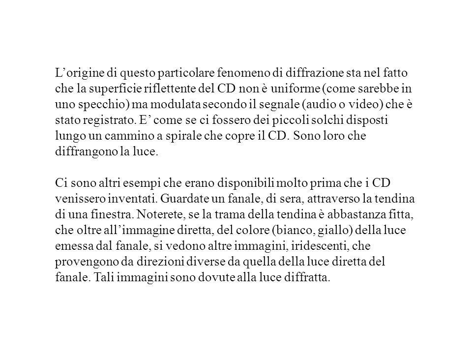 Lorigine di questo particolare fenomeno di diffrazione sta nel fatto che la superficie riflettente del CD non è uniforme (come sarebbe in uno specchio