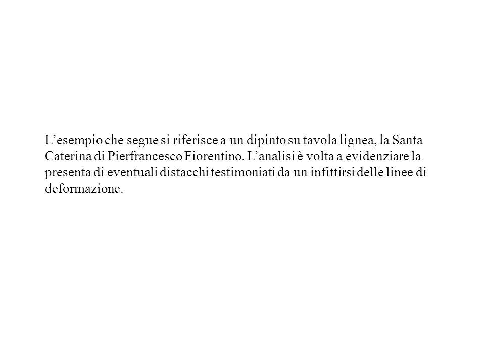 Lesempio che segue si riferisce a un dipinto su tavola lignea, la Santa Caterina di Pierfrancesco Fiorentino. Lanalisi è volta a evidenziare la presen