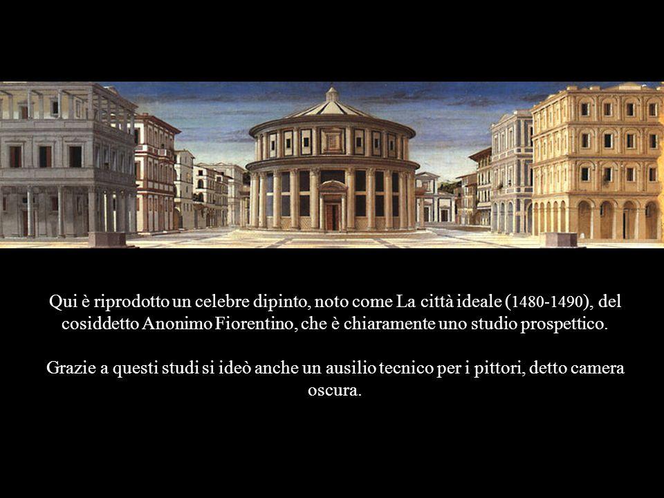 Qui è riprodotto un celebre dipinto, noto come La città ideale ( 1480-1490 ), del cosiddetto Anonimo Fiorentino, che è chiaramente uno studio prospett