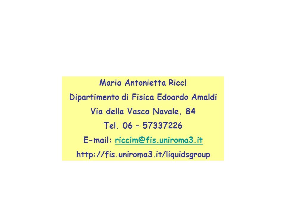 Maria Antonietta Ricci Dipartimento di Fisica Edoardo Amaldi Via della Vasca Navale, 84 Tel. 06 – 57337226 E-mail: riccim@fis.uniroma3.itriccim@fis.un