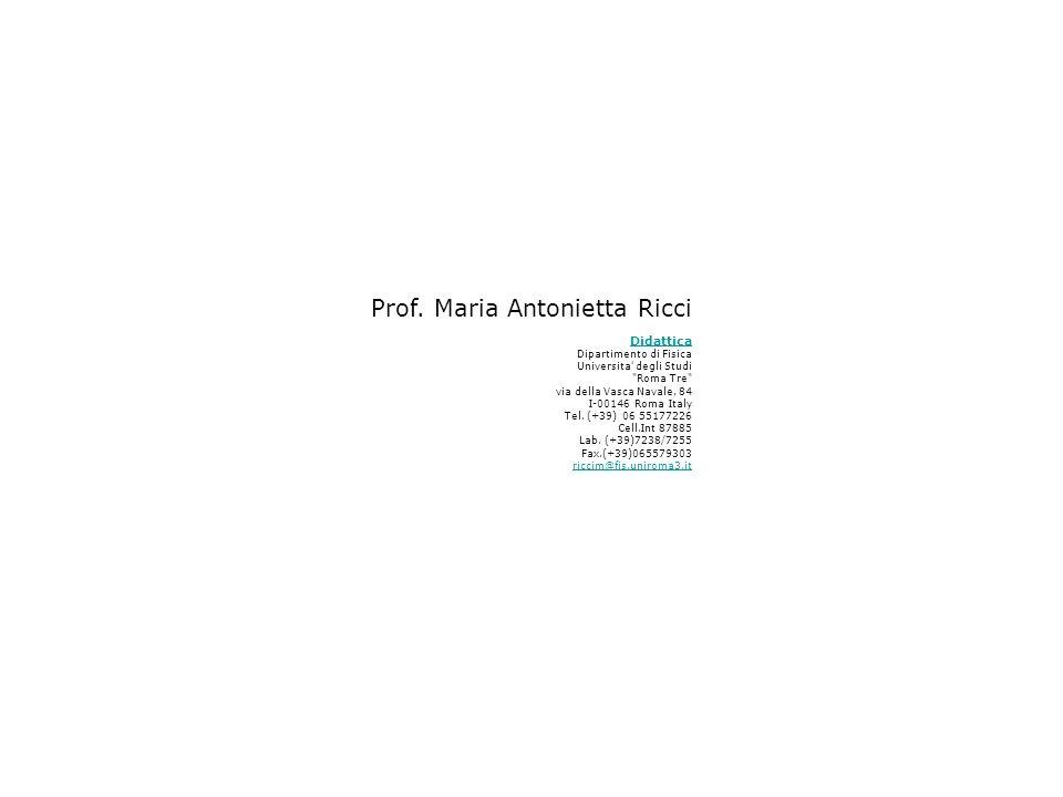 Prof. Maria Antonietta Ricci Didattica Dipartimento di Fisica Universita' degli Studi
