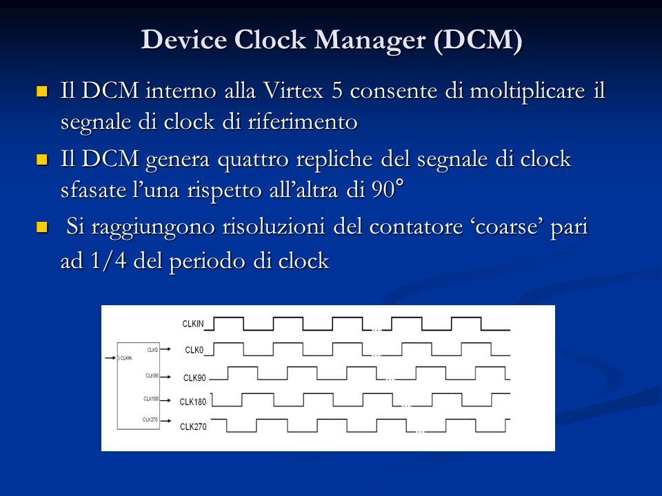 Device Clock Manager (DCM) Il DCM interno alla Virtex 5 consente di moltiplicare il segnale di clock di riferimento Il DCM interno alla Virtex 5 conse