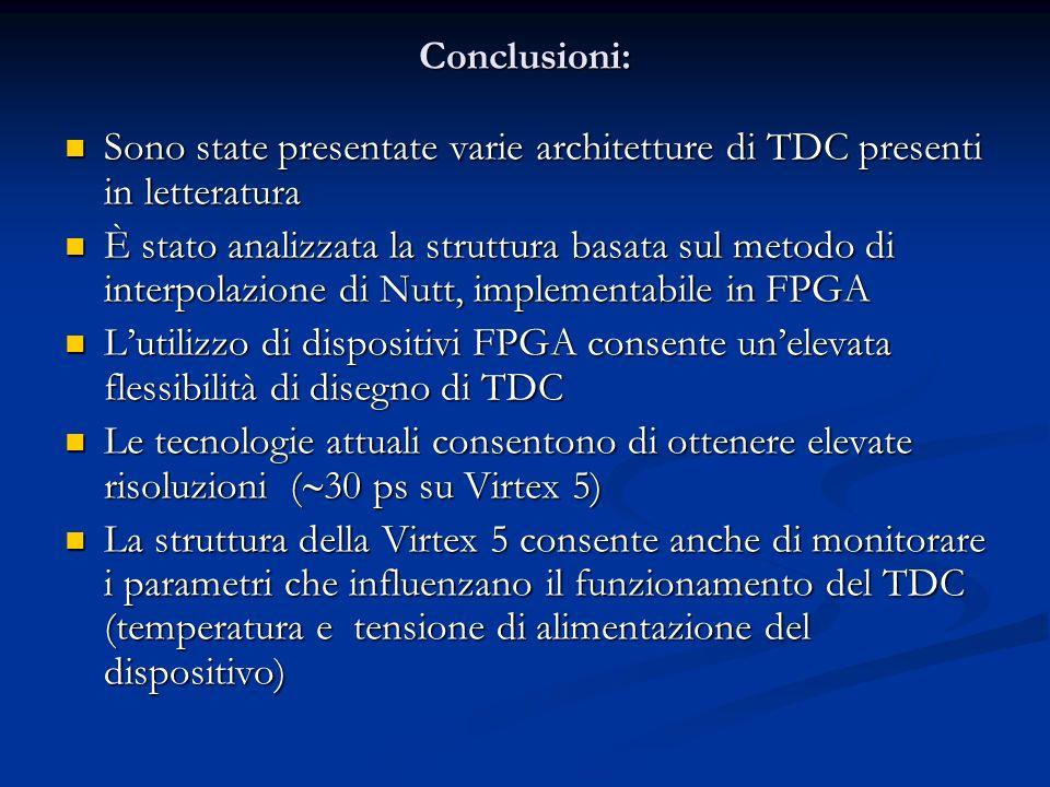 Conclusioni: Sono state presentate varie architetture di TDC presenti in letteratura Sono state presentate varie architetture di TDC presenti in lette