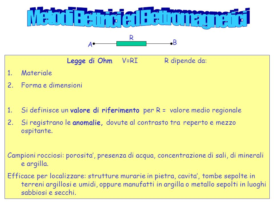 Legge di OhmV=RI R dipende da: 1.Materiale 2.Forma e dimensioni 1.Si definisce un valore di riferimento per R = valore medio regionale 2.Si registrano