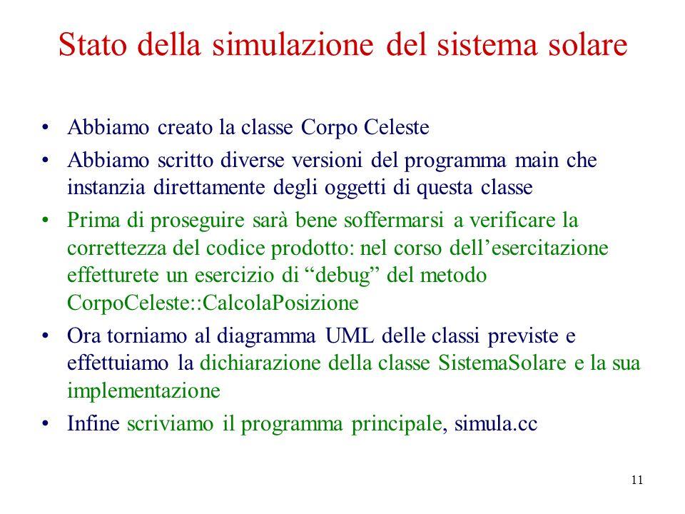 11 Stato della simulazione del sistema solare Abbiamo creato la classe Corpo Celeste Abbiamo scritto diverse versioni del programma main che instanzia