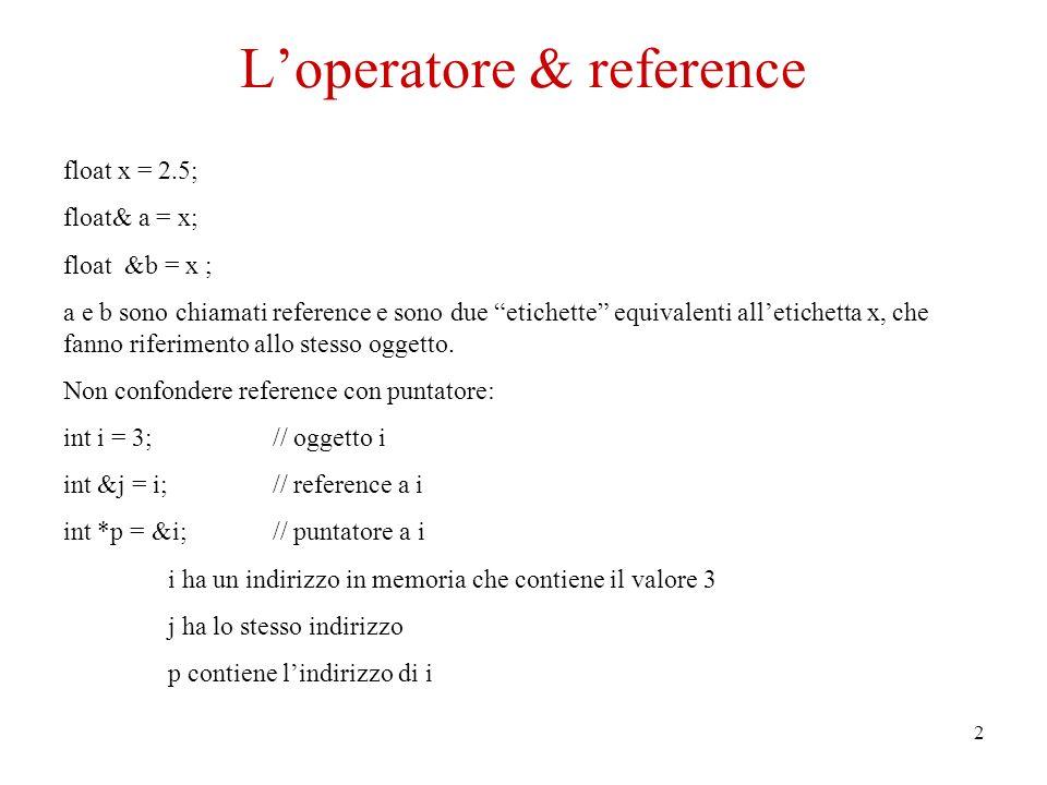 2 Loperatore & reference float x = 2.5; float& a = x; float &b = x ; a e b sono chiamati reference e sono due etichette equivalenti alletichetta x, che fanno riferimento allo stesso oggetto.