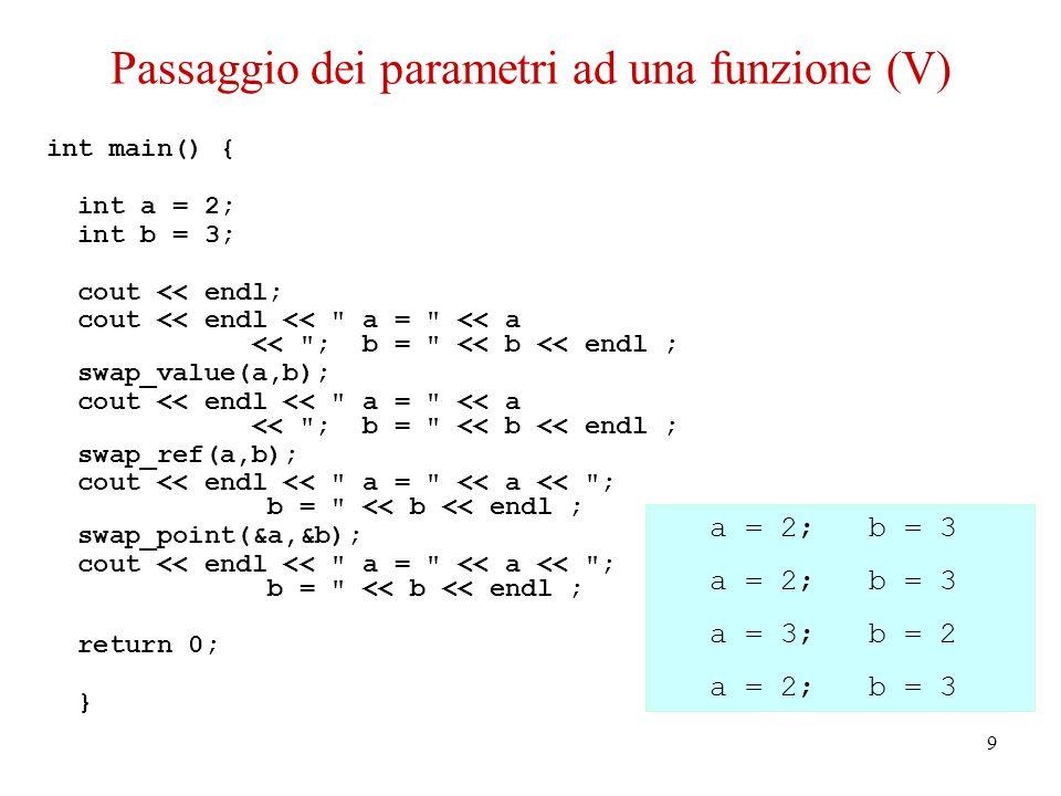 10 Passaggio dei parametri ad una funzione (VI) Funzioni che hanno come parametro un vettore: void modulo2(double * vect, int dim) { double mod = 0; for(int I=0; I<dim; I++){ mod += vect[I]*vect[I]; // uso vect[I] vect[I] = 0; // modifico vect[I] } return mod; } Un vettore viene identificato mediante il puntatore al suo primo elemento, quindi la funzione riceve sempre un puntatore e potrebbe andare ad alterare il contenuto del vettore...