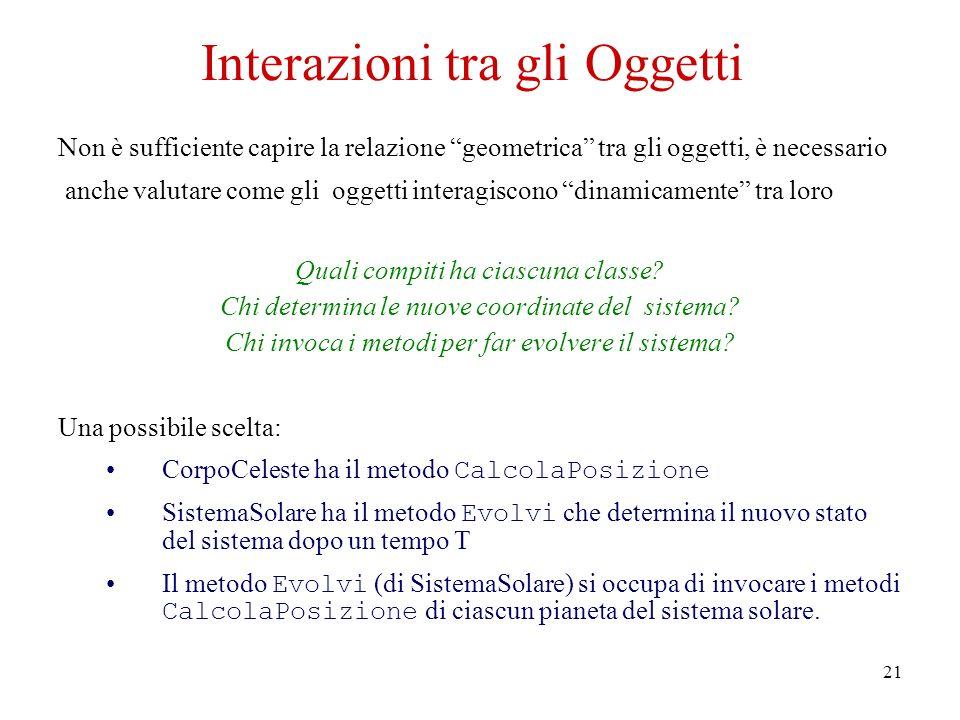 21 Interazioni tra gli Oggetti Non è sufficiente capire la relazione geometrica tra gli oggetti, è necessario anche valutare come gli oggetti interagiscono dinamicamente tra loro Quali compiti ha ciascuna classe.