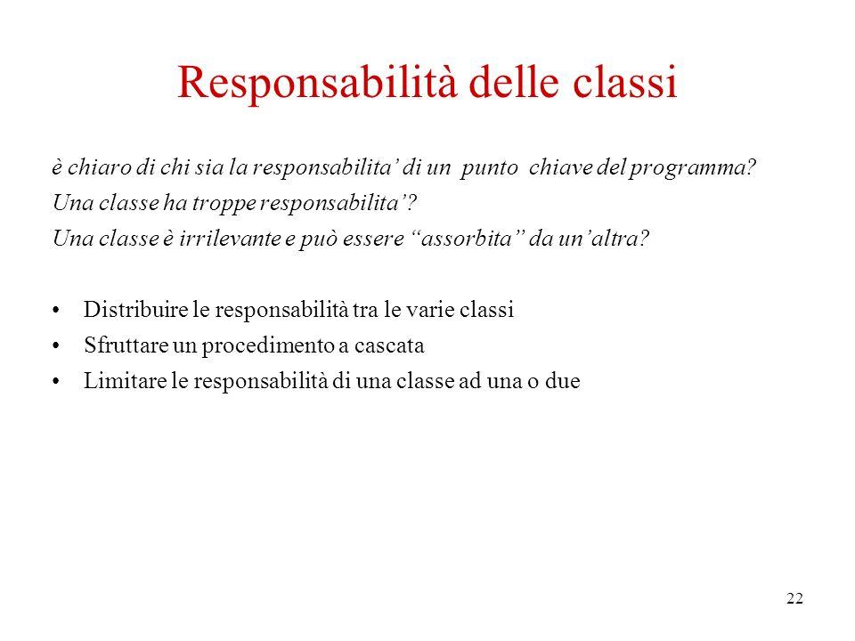 22 Responsabilità delle classi è chiaro di chi sia la responsabilita di un punto chiave del programma.