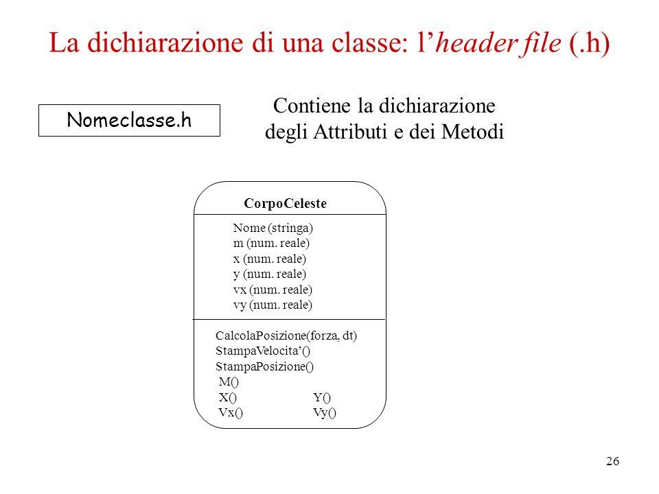 26 Nomeclasse.h Contiene la dichiarazione degli Attributi e dei Metodi CorpoCeleste Nome (stringa) m (num.