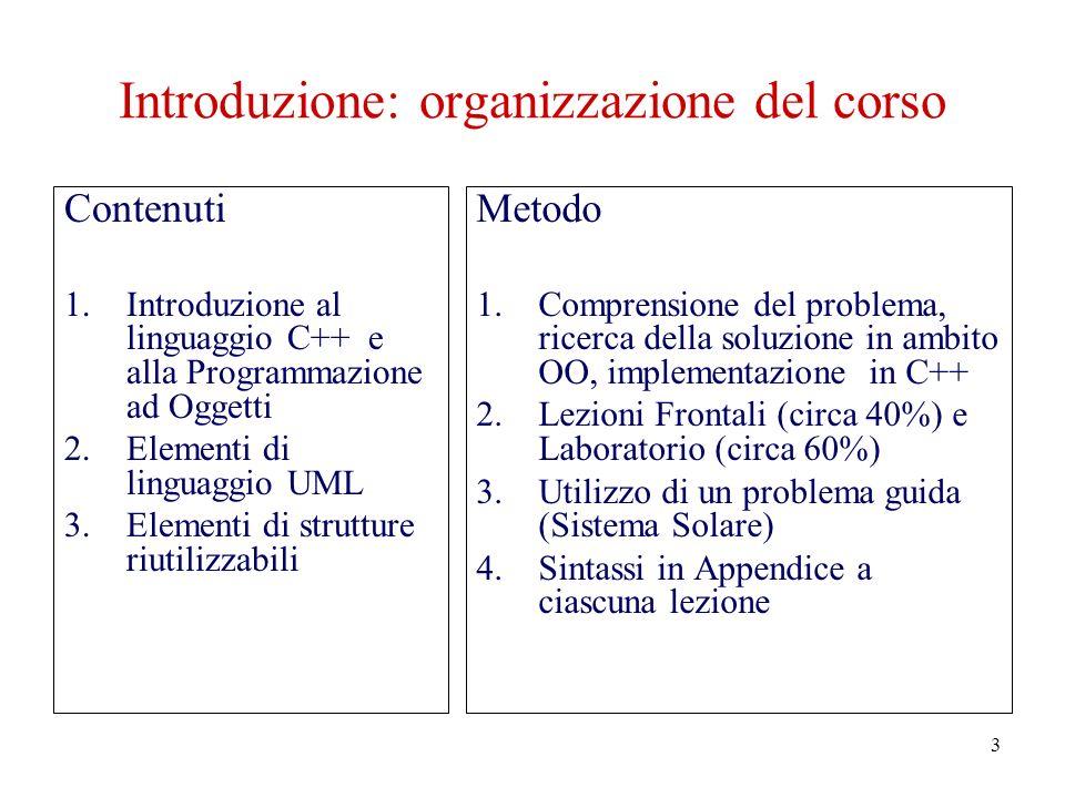 3 Introduzione: organizzazione del corso Contenuti 1.Introduzione al linguaggio C++ e alla Programmazione ad Oggetti 2.Elementi di linguaggio UML 3.Elementi di strutture riutilizzabili Metodo 1.Comprensione del problema, ricerca della soluzione in ambito OO, implementazione in C++ 2.Lezioni Frontali (circa 40%) e Laboratorio (circa 60%) 3.Utilizzo di un problema guida (Sistema Solare) 4.Sintassi in Appendice a ciascuna lezione