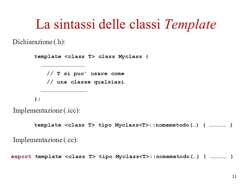 11 La sintassi delle classi Template template class Myclass { ………………………………… // T si puo usare come // una classe qualsiasi ………………………………….