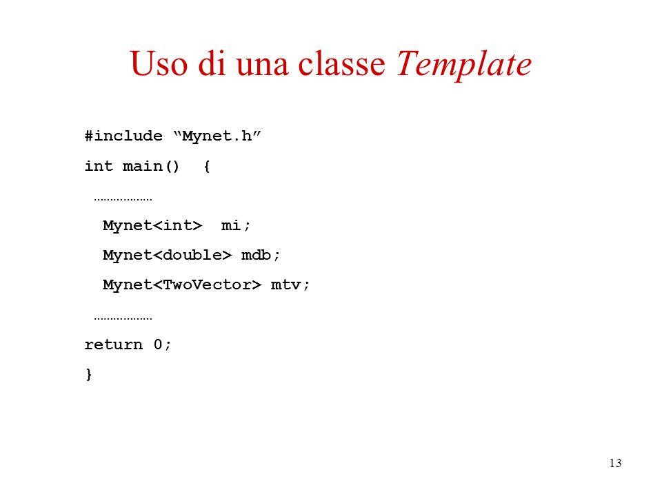 13 #include Mynet.h int main() { ……………… Mynet mi; Mynet mdb; Mynet mtv; ……………… return 0; } Uso di una classe Template