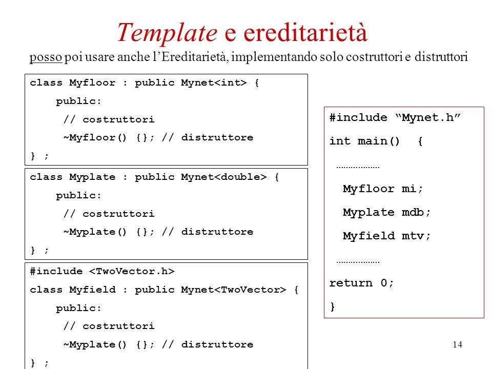 14 class Myfloor : public Mynet { public: // costruttori ~Myfloor() {}; // distruttore } ; posso poi usare anche lEreditarietà, implementando solo costruttori e distruttori class Myplate : public Mynet { public: // costruttori ~Myplate() {}; // distruttore } ; #include class Myfield : public Mynet { public: // costruttori ~Myplate() {}; // distruttore } ; Template e ereditarietà #include Mynet.h int main() { ……………… Myfloor mi; Myplate mdb; Myfield mtv; ……………… return 0; }