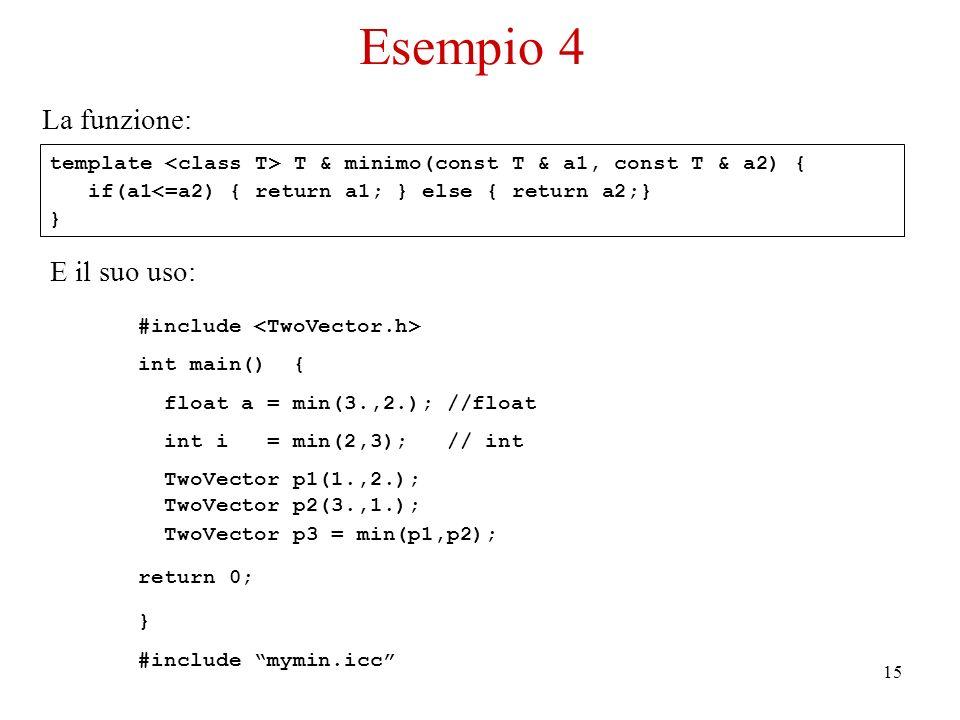15 template T & minimo(const T & a1, const T & a2) { if(a1<=a2) { return a1; } else { return a2;} } La funzione: E il suo uso: #include int main() { float a = min(3.,2.); //float int i = min(2,3); // int TwoVector p1(1.,2.); TwoVector p2(3.,1.); TwoVector p3 = min(p1,p2); return 0; } #include mymin.icc Esempio 4