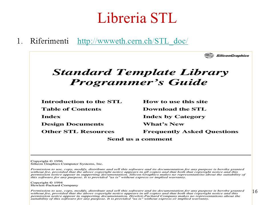 16 1.Riferimenti http://wwweth.cern.ch/STL_doc/http://wwweth.cern.ch/STL_doc/ Libreria STL
