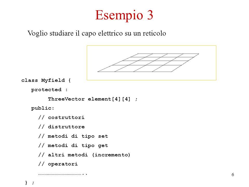 6 Voglio studiare il capo elettrico su un reticolo class Myfield { protected : ThreeVector element[4][4] ; public: // costruttori // distruttore // metodi di tipo set // metodi di tipo get // altri metodi (incremento) // operatori …………………………………..