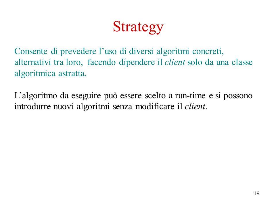 19 Strategy Consente di prevedere luso di diversi algoritmi concreti, alternativi tra loro, facendo dipendere il client solo da una classe algoritmica astratta.