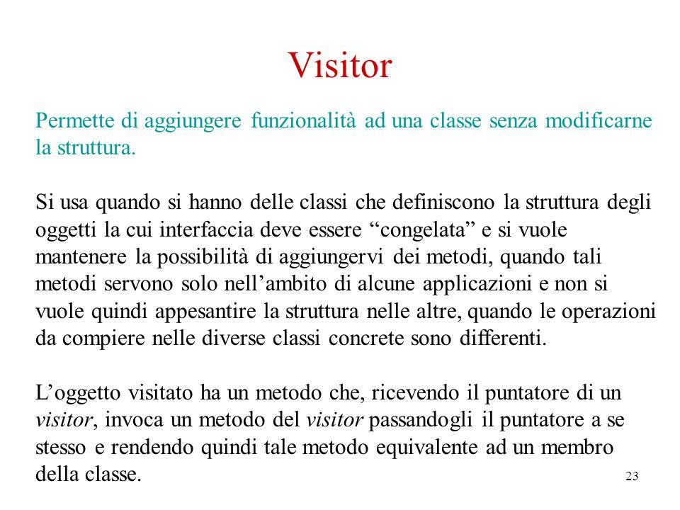 23 Visitor Permette di aggiungere funzionalità ad una classe senza modificarne la struttura.