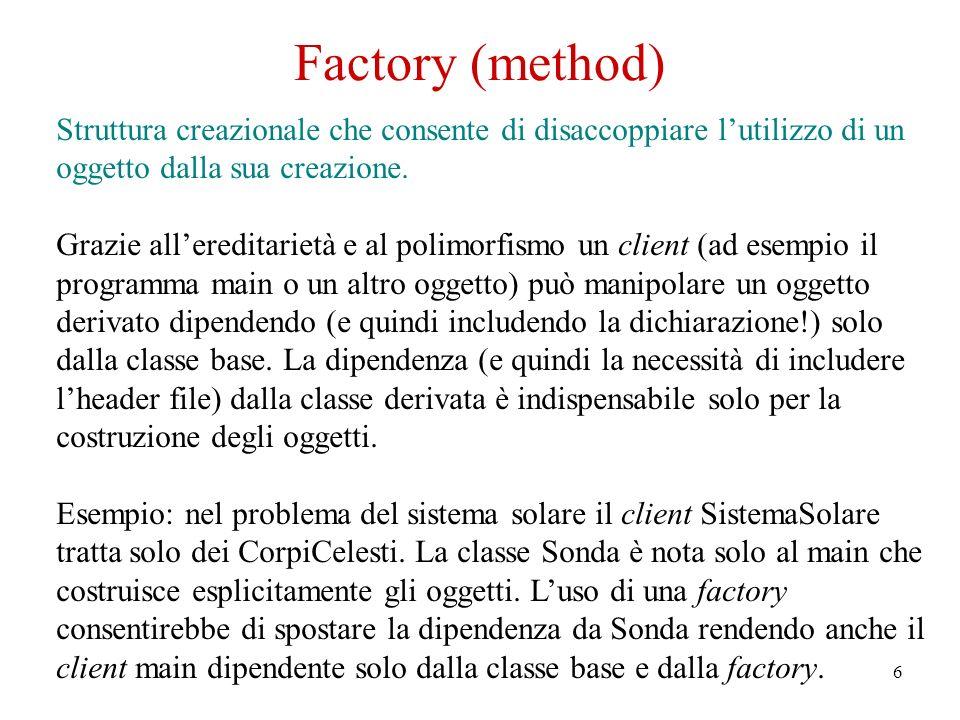 6 Factory (method) Struttura creazionale che consente di disaccoppiare lutilizzo di un oggetto dalla sua creazione.