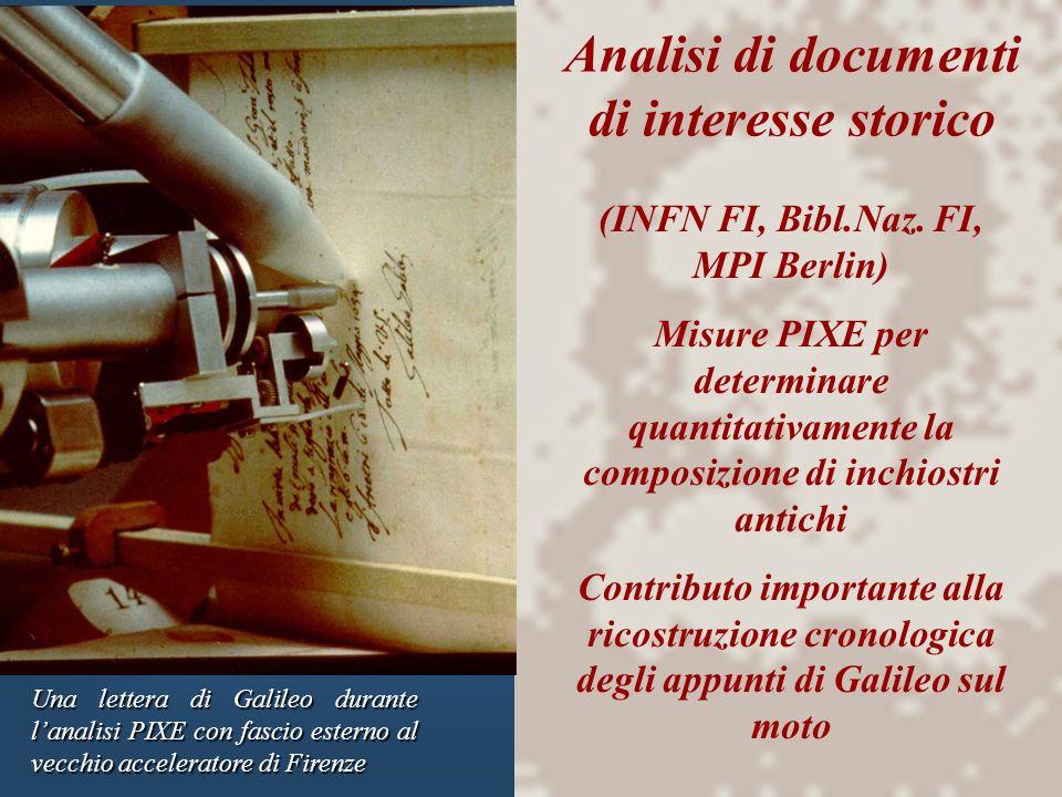 Analisi di documenti di interesse storico Una lettera di Galileo durante lanalisi PIXE con fascio esterno al vecchio acceleratore di Firenze (INFN FI,