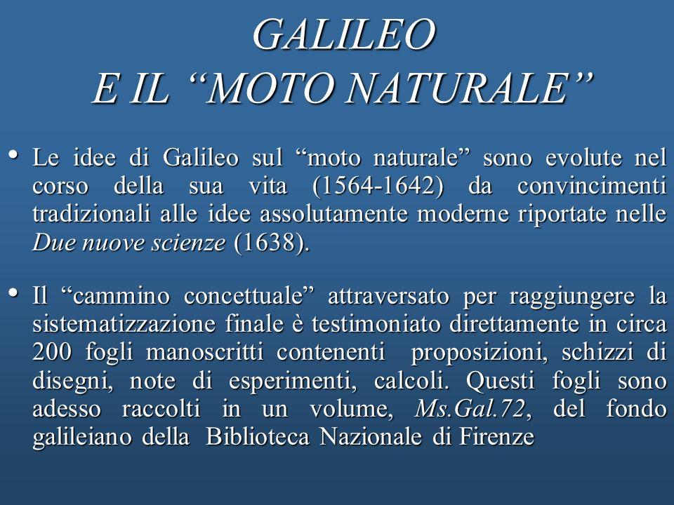 GALILEO E IL MOTO NATURALE Le idee di Galileo sul moto naturale sono evolute nel corso della sua vita (1564-1642) da convincimenti tradizionali alle i