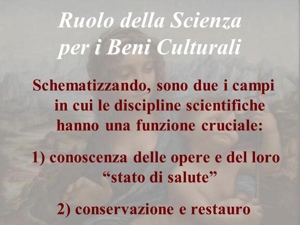 Ruolo della Scienza per i Beni Culturali Schematizzando, sono due i campi in cui le discipline scientifiche hanno una funzione cruciale: 1) conoscenza