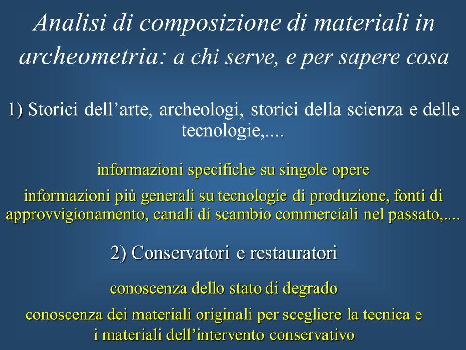 1). 1) Storici dellarte, archeologi, storici della scienza e delle tecnologie,.... informazioni specifiche su singole opere informazioni più generali