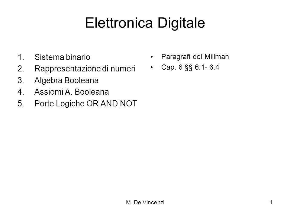 M. De Vincenzi1 Elettronica Digitale 1.Sistema binario 2.Rappresentazione di numeri 3.Algebra Booleana 4.Assiomi A. Booleana 5.Porte Logiche OR AND NO