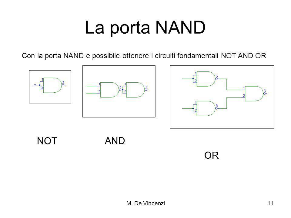 M. De Vincenzi11 La porta NAND Con la porta NAND e possibile ottenere i circuiti fondamentali NOT AND OR NOT AND OR