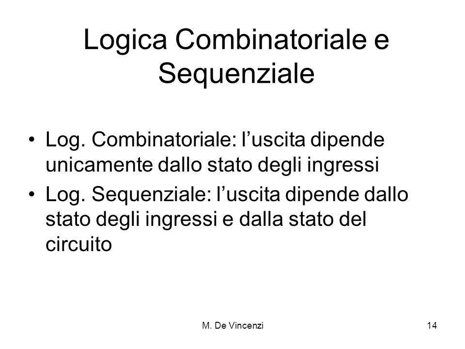 M. De Vincenzi14 Logica Combinatoriale e Sequenziale Log. Combinatoriale: luscita dipende unicamente dallo stato degli ingressi Log. Sequenziale: lusc