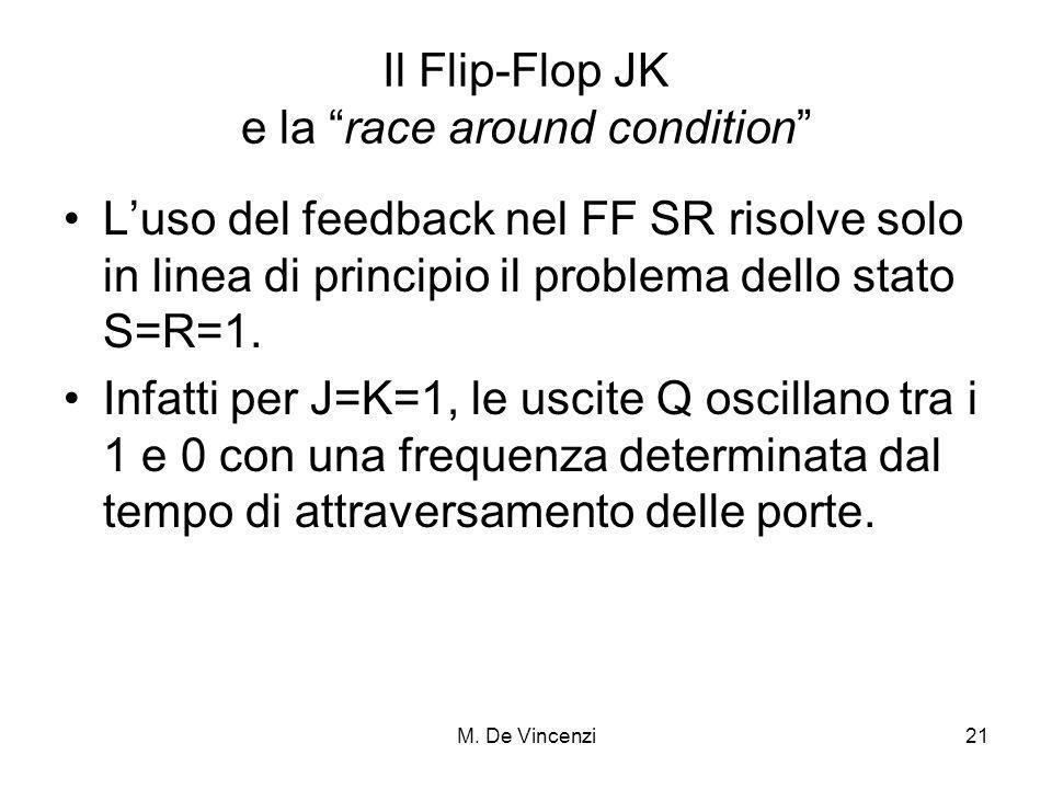M. De Vincenzi21 Il Flip-Flop JK e la race around condition Luso del feedback nel FF SR risolve solo in linea di principio il problema dello stato S=R