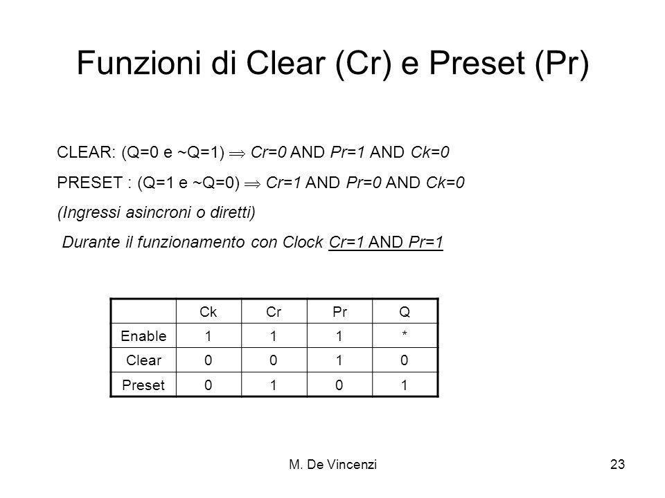M. De Vincenzi23 Funzioni di Clear (Cr) e Preset (Pr) CLEAR: (Q=0 e ~Q=1) Cr=0 AND Pr=1 AND Ck=0 PRESET : (Q=1 e ~Q=0) Cr=1 AND Pr=0 AND Ck=0 (Ingress