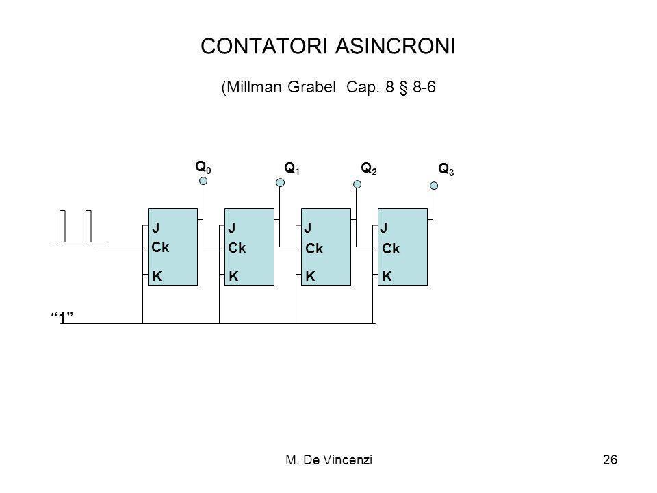 M. De Vincenzi26 CONTATORI ASINCRONI (Millman Grabel Cap. 8 § 8-6 Ck Q0Q0 J K K K K J J J Q1Q1 Q2Q2 Q3Q3 1