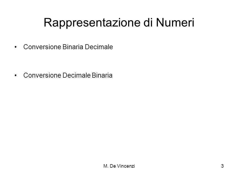 M. De Vincenzi3 Rappresentazione di Numeri Conversione Binaria Decimale Conversione Decimale Binaria
